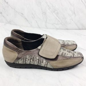 Sesto Meucci Tan Suede Leather & Snakeskin Loafers